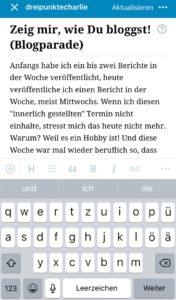 Schreiben mit der App